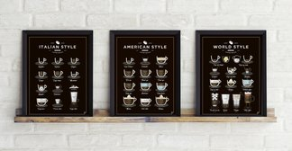 Plakat American, World, Italian Style Coffee 3 szt.